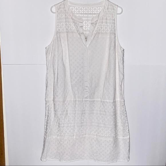 LOFT White Eyelet Sleeveless Dress